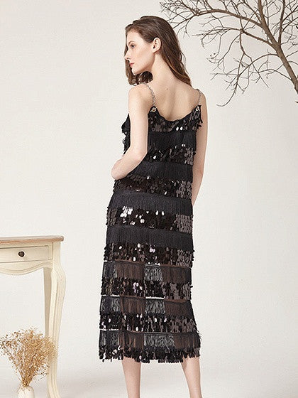 Black Sequin And Tassel Detail Spaghetti Strap Midi Dress