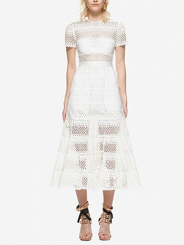 White Laser Cut Lace Short Sleeve A-line Midi Dress