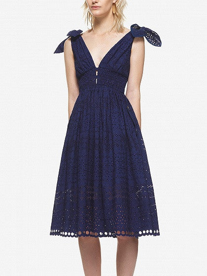 Navy Blue V Front and V Back Tie Shoulder Cutwork Lace Midi Dress