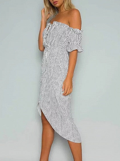 White Off Shoulder Polka Dot Tie Front Midi Wrap Dress