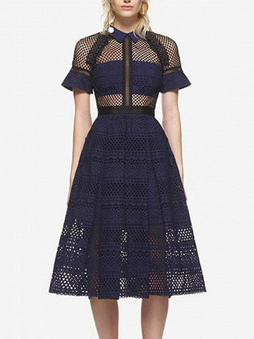 Navy Lace Panel Pointed Collar High Waist Midi Dress