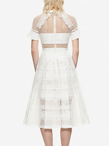 White Lace Panel Pointed Collar High Waist Midi Dress
