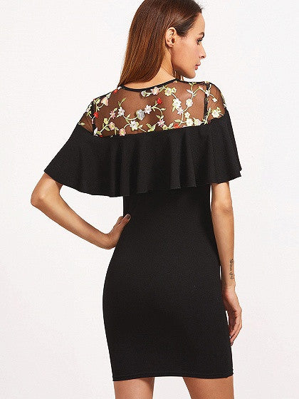 Black Tie Front Embroidery Mesh Panel Ruffle Bodycon Dress