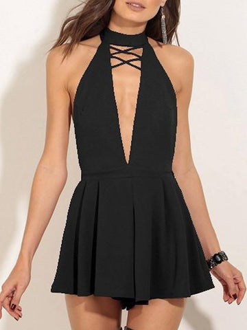 Black Choker Tie Caged Plunge Front Open Back Romper Playsuit