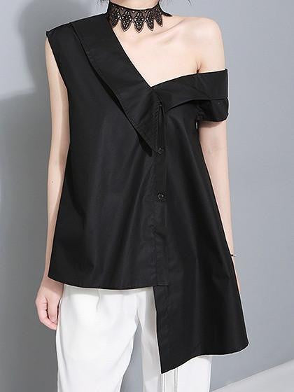 Black One Shoulder Asymmetric Hem Tie Waist Top