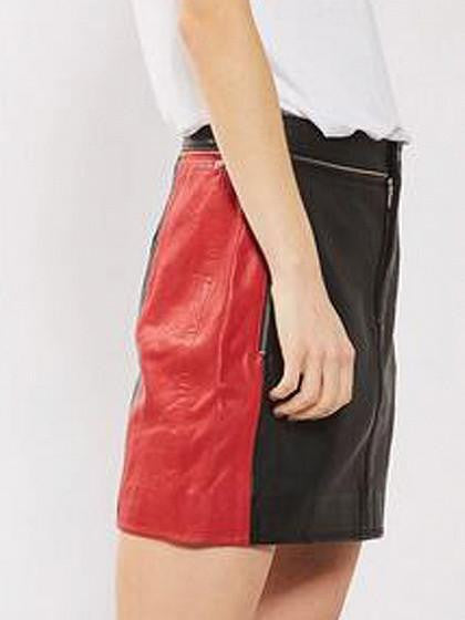 Color Block High Waist Zip Detail Leather Look A-line Skirt