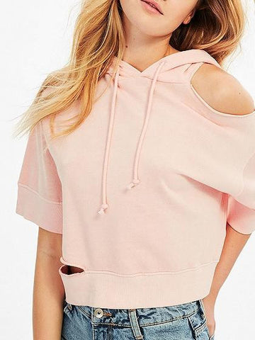 Pink Drop Shoulder Rip Detail Crop Drawstring Hoodie