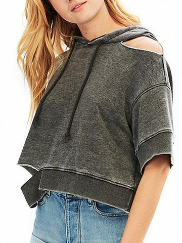 Gray Drop Shoulder Rip Detail Crop Drawstring Hoodie