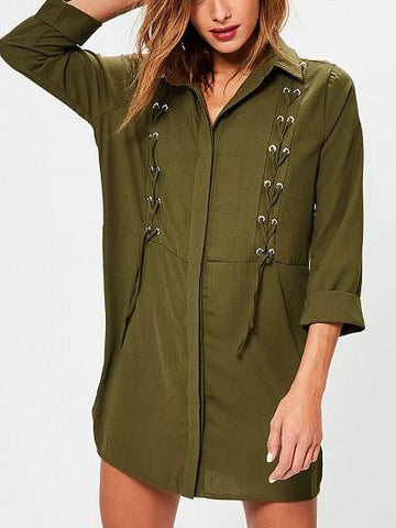 Army Green Eyelet Lace Up 3/4 Sleeve Shirt Dress
