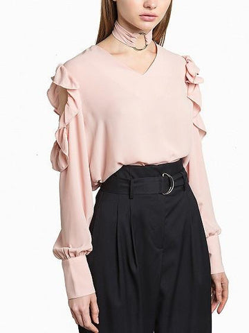 Light Pink Ring Choker Tie Ruffle Cold Shoulder Long Sleeve Top