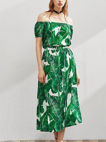 Green Off Shoulder Tropical Leaf Print Button Front Midi Dress