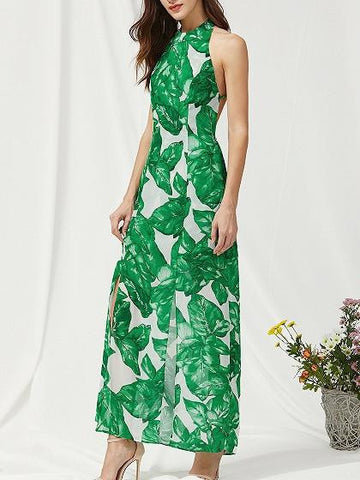 Green Halter Tropical Leaf Print Strappy Back Maxi Dress