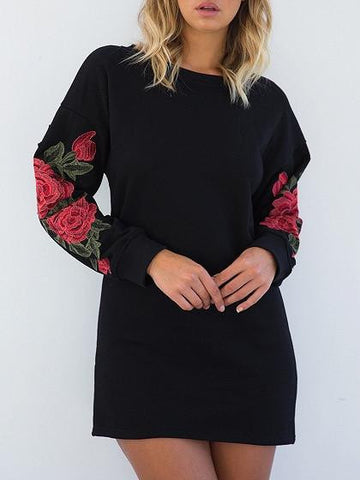 Black Embroidery Floral Sleeve Sweat Dress