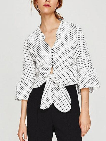 White V-neck Polka Dot Tie Front Flared Sleeve Blouse