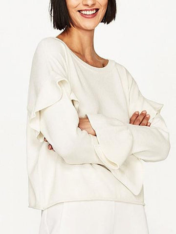 White Ruffle Trim Long Sleeve Knit Jumper