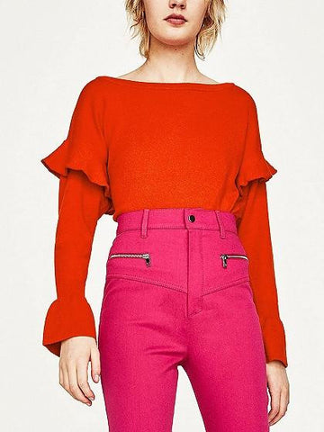 Red Ruffle Trim Long Sleeve Knit Jumper