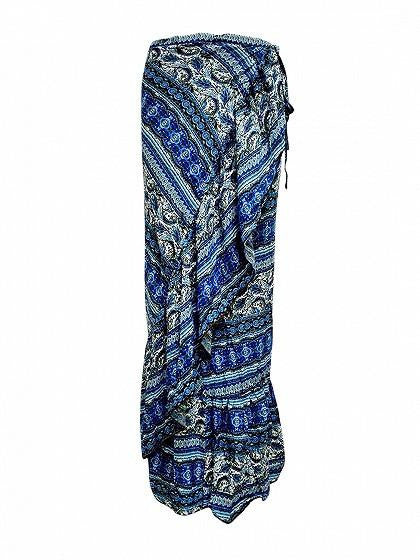 Blue High Waist Geo-tribal Ruffle Trim Wrap Maxi Skirt