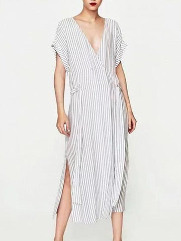 White Stripe V-neck Tie Waist Side Split Midi Dress