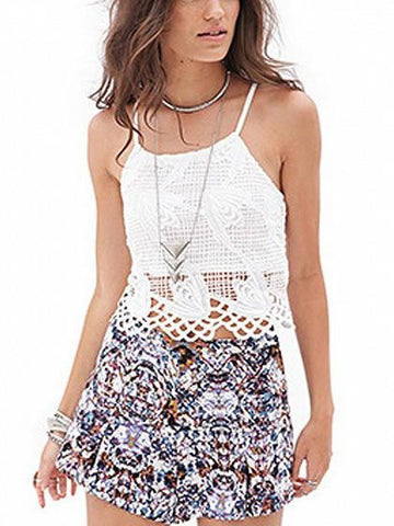 White Spaghetti Strap Cut Out Lace Cami Top