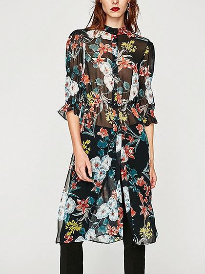 Polychrome Floral Side Split Half Sleeve Chiffon Dress