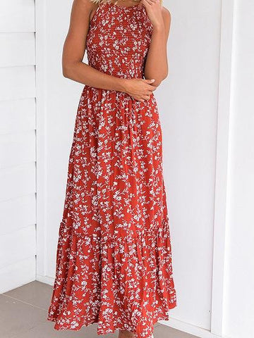 Red Halter Shirred Floral Print Lace Up Back Maxi Dress