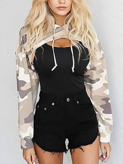 7d17e4da5d129 Khaki Camouflage Long Sleeve Cropped Hoodie – chiclookcloset