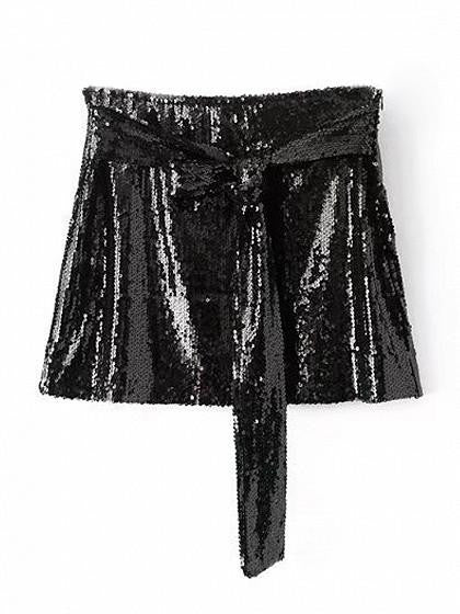 Black Sequin Tie Front Mini Skirt