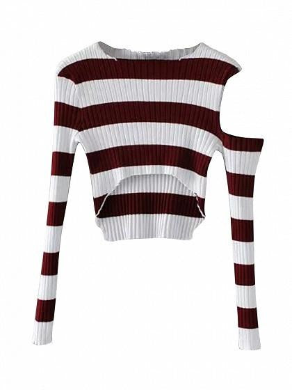 Burgundy Stripe Cold Shoulder Dip Hem Rib Knit Crop Top
