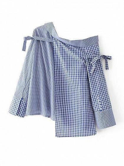 Blue Mixed Gingham One Shoulder Asymmetric Hem Shirt