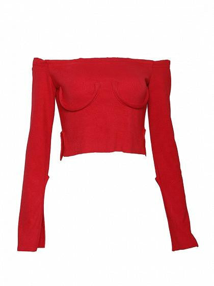 Red Off Shoulder Split Flared Sleeve Cropped Ribbed T-shirt