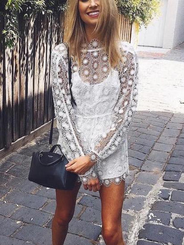 White Cut Out Lace Overlay Long Sleeve Romper Playsuit