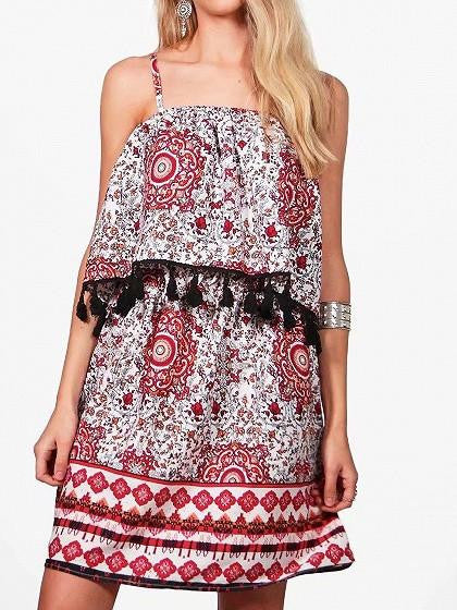 Polychrome Tassel Detail Layered Top Spaghetti Strap Mini Dress