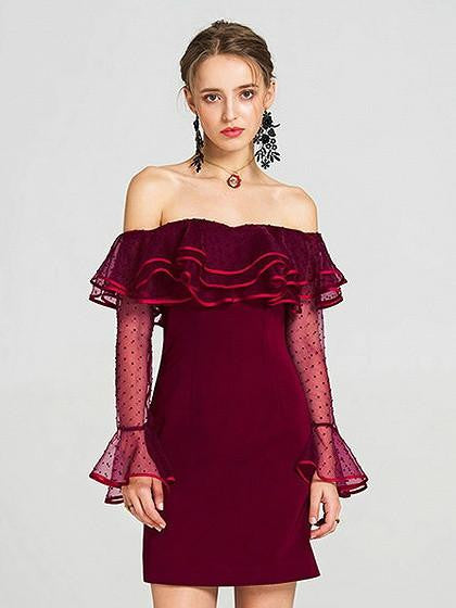Burgundy Off Shoulder Layered Ruffle Sheer Bell Sleeve Dress
