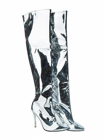 7bc27aa5ffda7 Silver Patent Leather Look Pointed Heeled Over The Knee Boots –  chiclookcloset