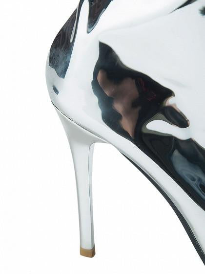 2902df56b10 ... Silver Patent Leather Look Pointed Heeled Over The Knee Boots ...