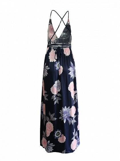 Dark Blue Plunge Floral Print Cross Strap Back Split Maxi Dress