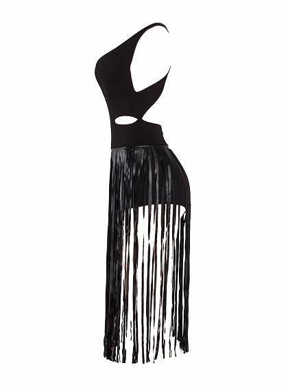 Black Plunge V-neck Back Cross Tassel Detail Dress