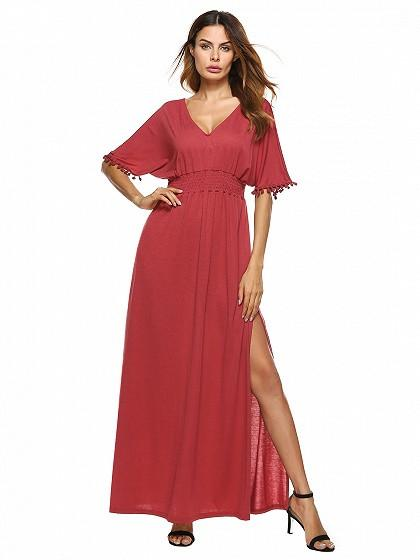 Red V Neck Cut Out Back Pom Pom Detail Side Split Maxi Dress