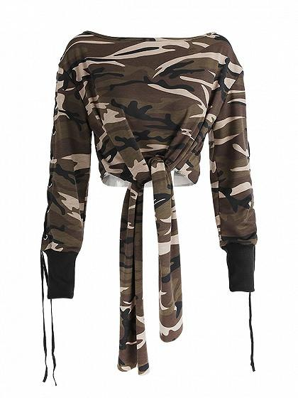 Camouflage Print Tie Lace Up Sleeve Cropped Sweatshirt