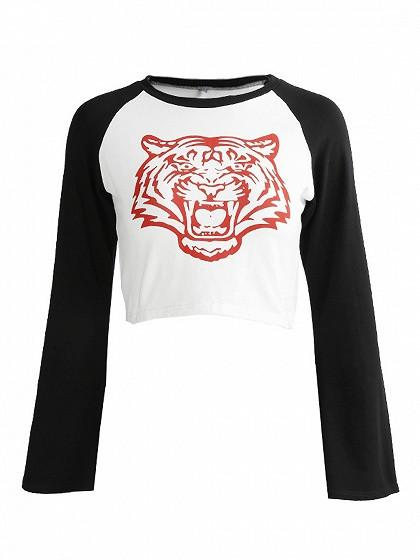 Color Block Tiger Print Flare Sleeve Cropped T-shirt