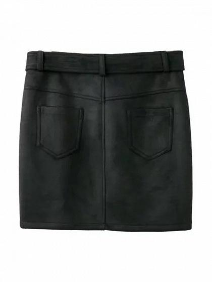 Black Faux Suede High Waist Asymmetric Zip Pencil Mini Skirt