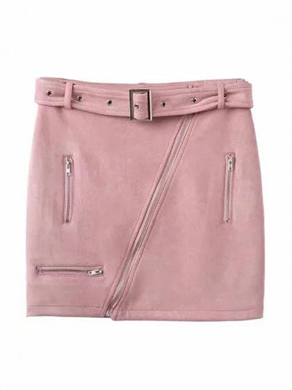 Pink Faux Suede High Waist Asymmetric Zip Pencil Mini Skirt