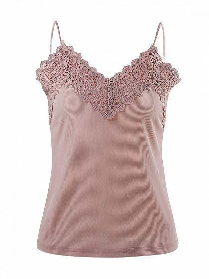 Pink V-neck Lace Trim Ribbed Cami Top