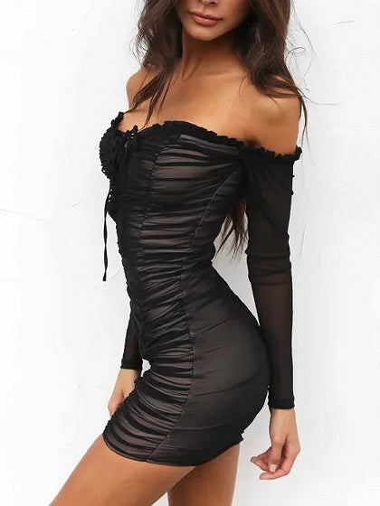 Black Off Shoulder Lace Up Frill Ruched Mesh Bodycon Dress