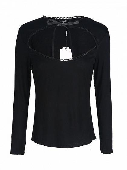 Black Cut Out Tie Front Long Sleeve T-shirt