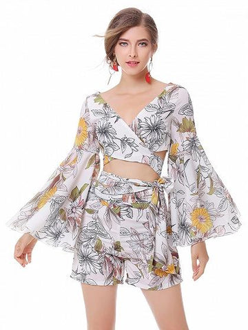 Polychrome Floral V-neck Flared Sleeve Wrap Crop Top And Bottom