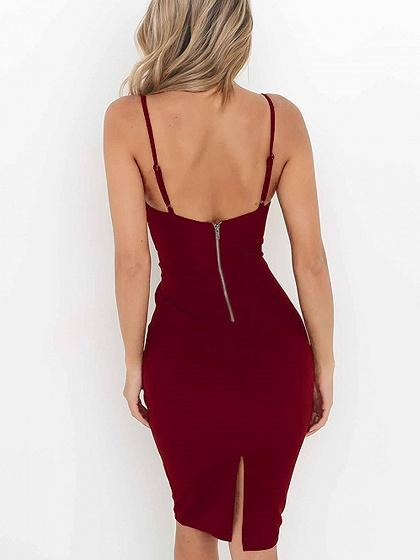 Burgundy V Neck Corset Tie Waist Cami Bodycon Dress