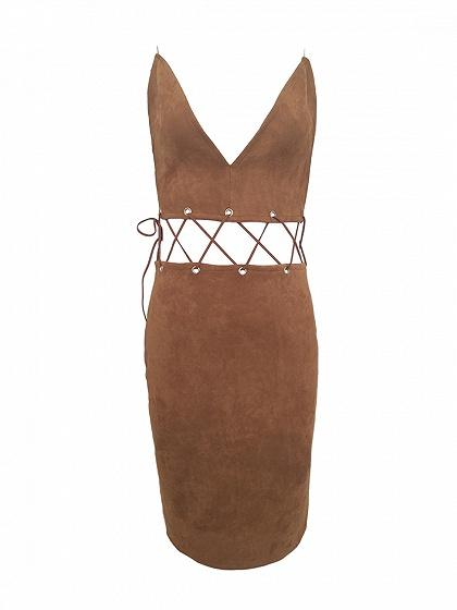 Brown Faux Suede Plunge Lace Up Waist Cami Bodycon Dress