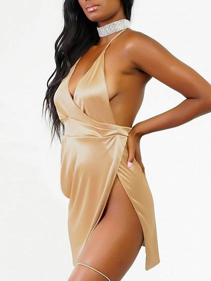 Gold Halter Plunge Wrap Open Back Split Dress
