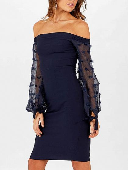 Navy Blue Off Shoulder Sheer Puff Sleeve Split Bodycon Dress